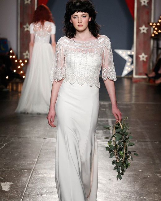 jenny packham wedding dress spring 2018 lace three-quarter-sleeve overlay