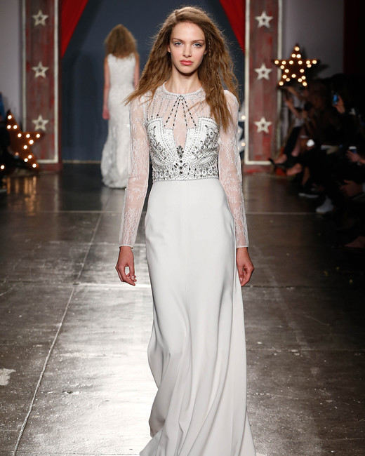 jenny packham wedding dress spring 2018 high neck embellished long sleeves
