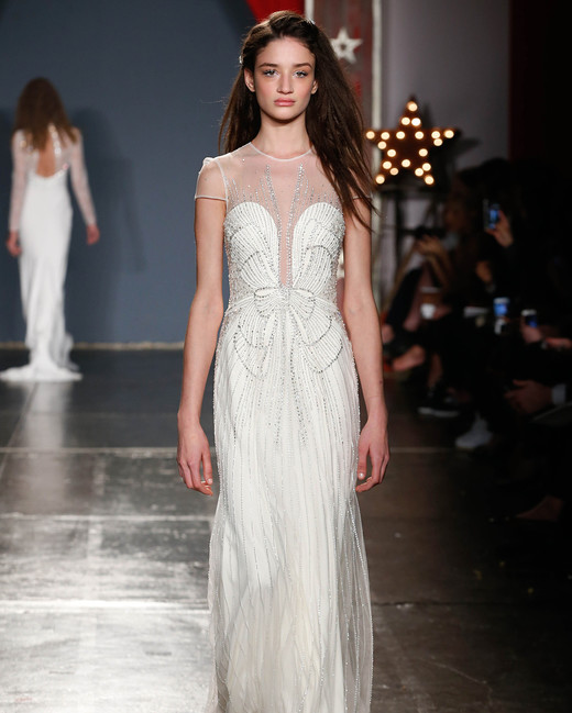 jenny packham wedding dress spring 2018 illusion neckline cap sleeve