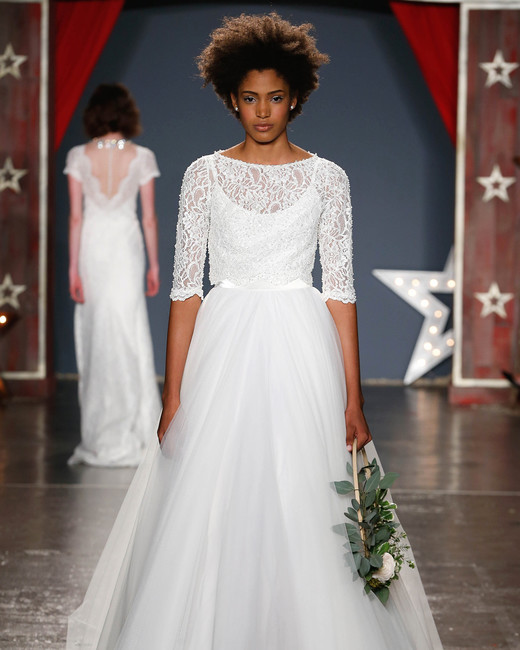 jenny packham wedding dress spring 2018 three-quarter length sleeves ballgown