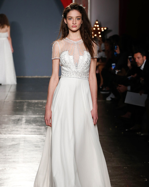 jenny packham wedding dress spring 2018 embellished bodice cap sleeves
