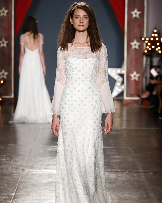 jenny packham wedding dress spring 2018 long-sleeve embroidered overlay