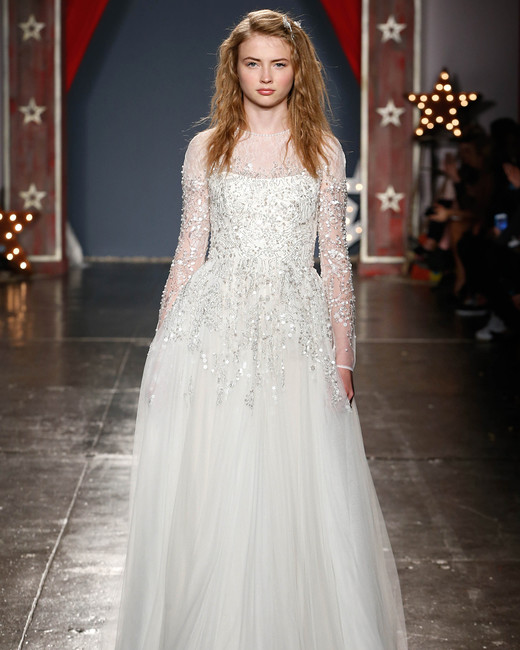 jenny packham wedding dress spring 2018 high-neck illusion embroidered