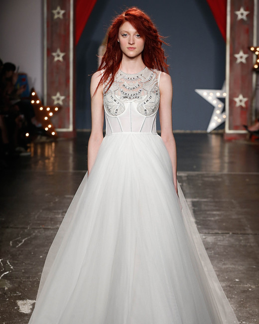 jenny packham wedding dress spring 2018 high neck embellished ballgown