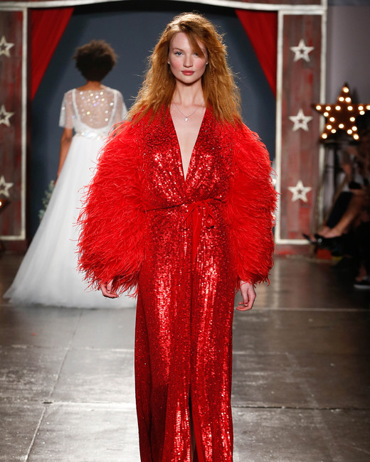 jenny packham wedding dress spring 2018 red sequin plume sleeves