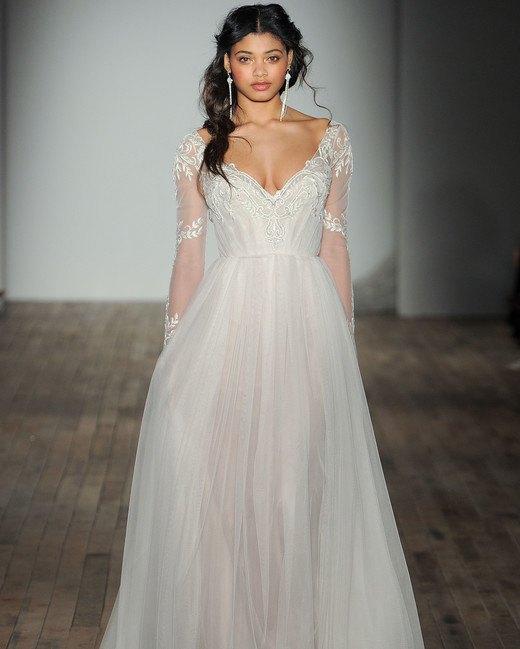 jim hjelm by hayley paige v-neck long sleeve wedding dress spring 2018