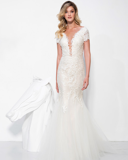 lavish by yaniv persy wedding dress spring 2019 short sleeves lace trumpet