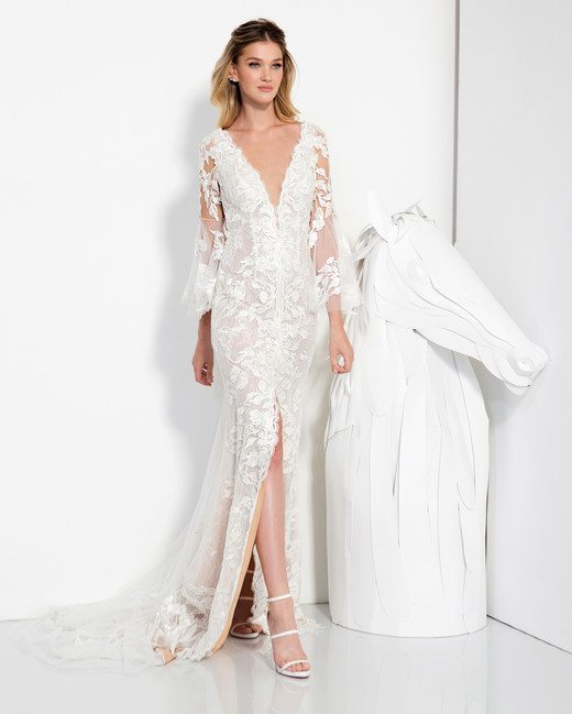 lavish by yaniv persy wedding dress spring 2019 lace long sleeves deep v