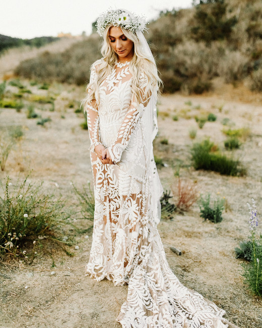long sleeved wedding illusion dress