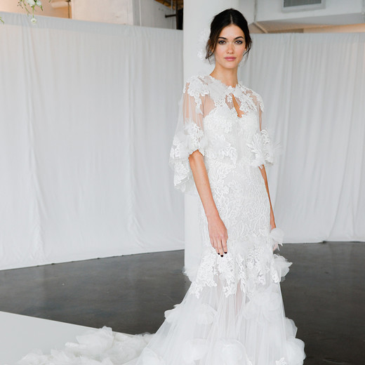 marchesa fall 2018 layered gown with capelet