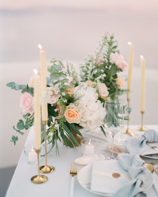 taper candles, seafoam linens, floral arrangement dinner table decor