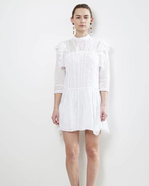 white high neck mini dress