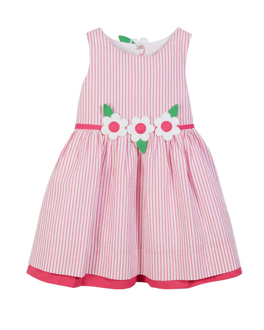 pink Striped Seersucker Dress