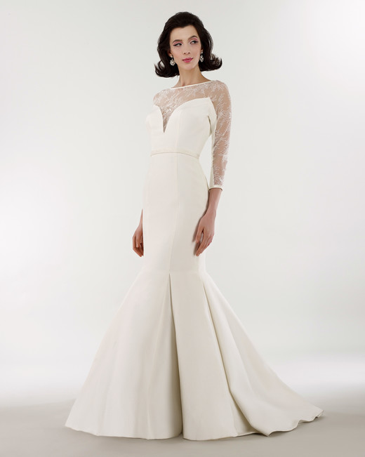 steven birnbaum bridal wedding dress spring 2019 trumpet illusion three-quarter length sleeves