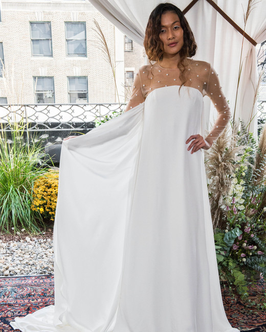 alexandra grecco wedding dress fall 2018 long sleeves illusion column