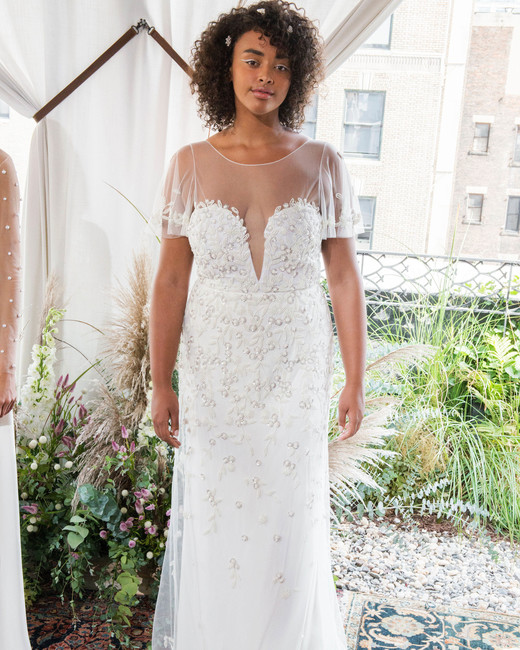 alexandra grecco wedding dress fall 2018 short sleeves illusion embellished