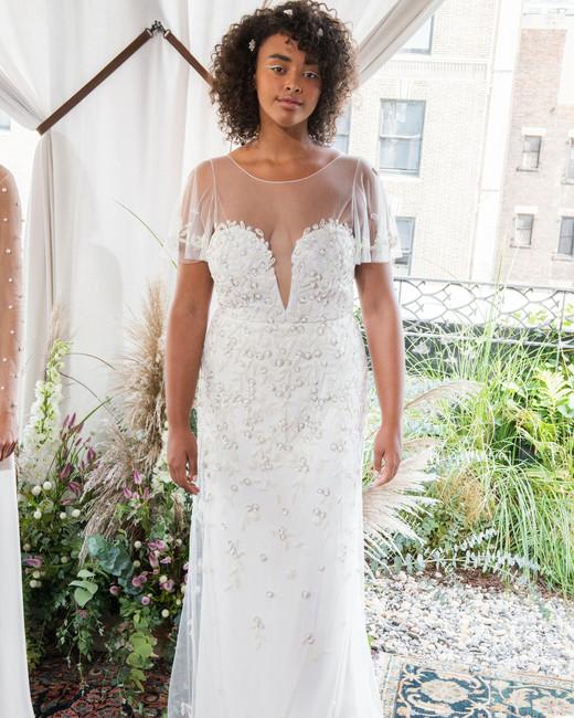 alexandra grecco wedding dress fall 2018 short sleeves illusion embellished