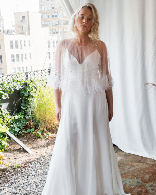 alexandra grecco wedding dress fall 2018 fringe mesh overlay a-line