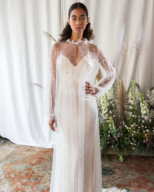 alexandra grecco wedding dress fall 2018 mesh overlay long sleeves spaghetti strap