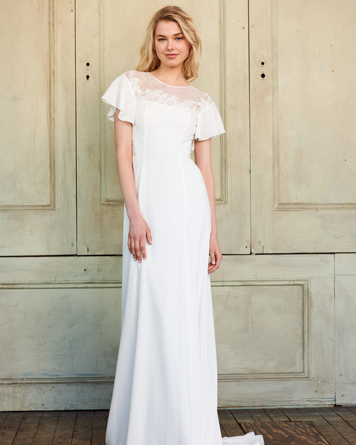 amsale christos short sleeves flowy wedding dress spring 2018
