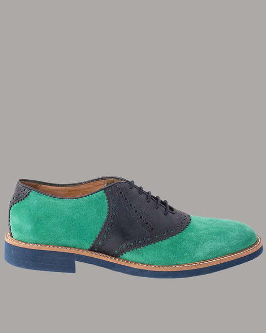 """Austen Heller """"Harrisons"""" Kelly Green Suede and Navy Leather Shoes"""