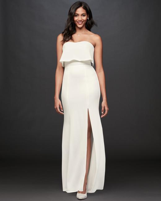 straight across strapless sheath wedding dress DB Studio Spring 2020