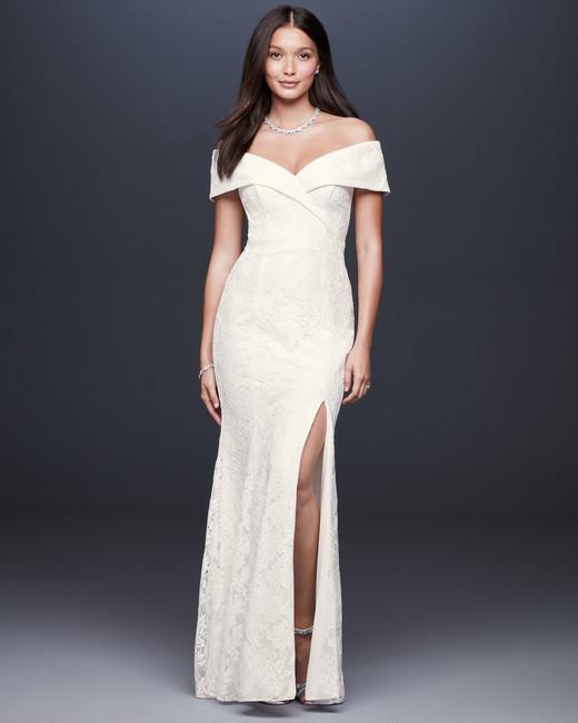 off-the-shoulder sweetheart side slit lace wedding dress DB Studio Spring 2020
