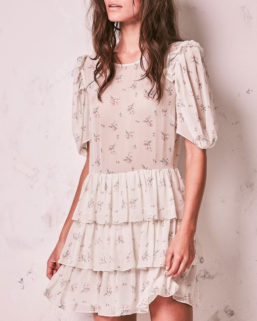floral and ruffles short engagement party dress