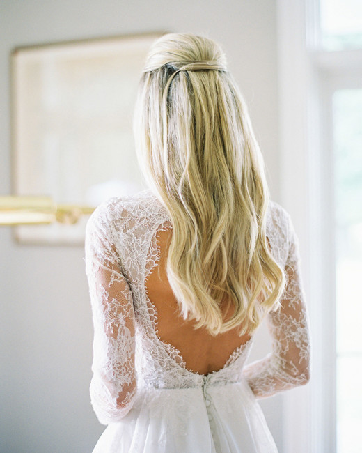 traditional half-up, half-down hairstyle