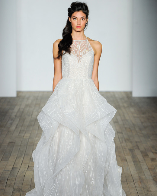 hayley paige fall 2018 halter layered wedding dress