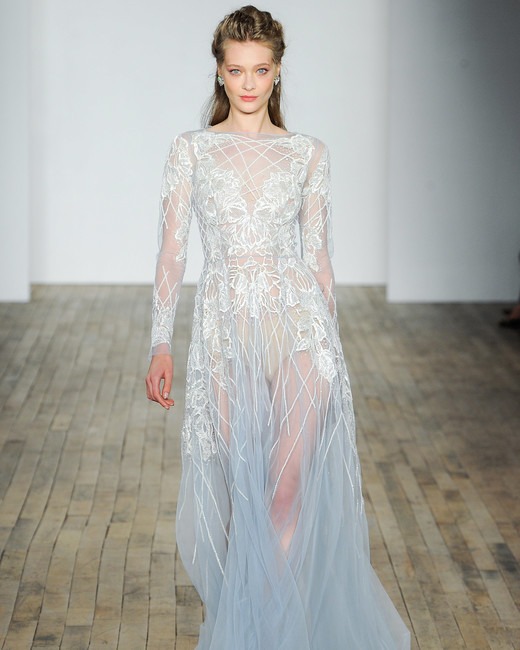 hayley paige fall 2018 long sleeve sheer wedding dress