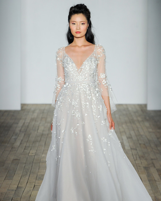 hayley paige fall 2018 v-neck long sleeve wedding dress
