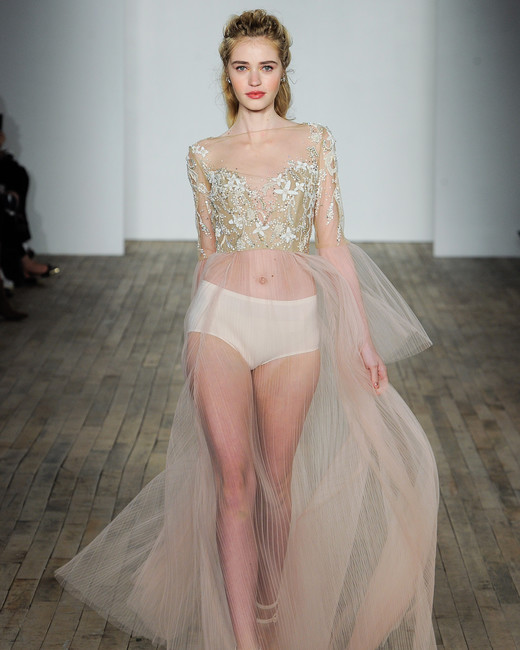 hayley paige fall 2018 sheer gold wedding dress