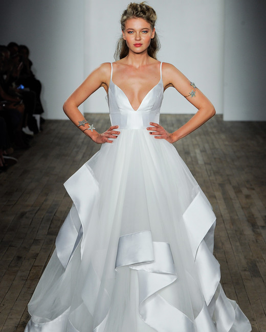 hayley paige fall 2018 spaghetti strap chiffon layered wedding dress
