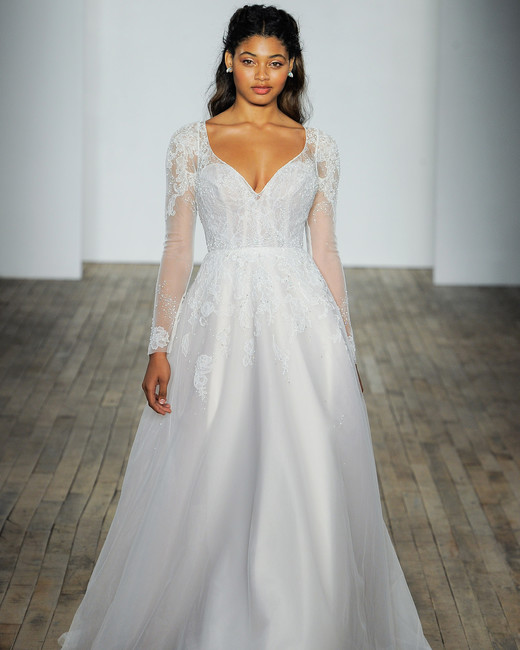 hayley paige fall 2018 v-neck long sleeve lace wedding dress