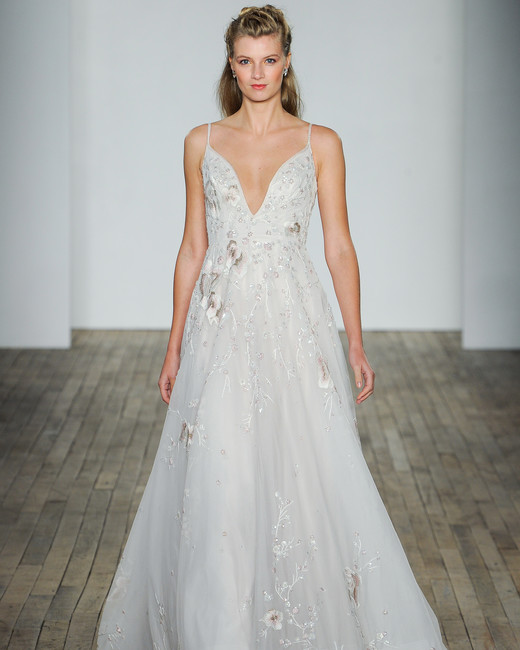 hayley paige fall 2018 v-neck floral a-line wedding dress