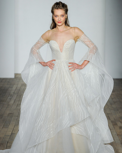 hayley paige fall 2018 overlay long sleeve wedding dress