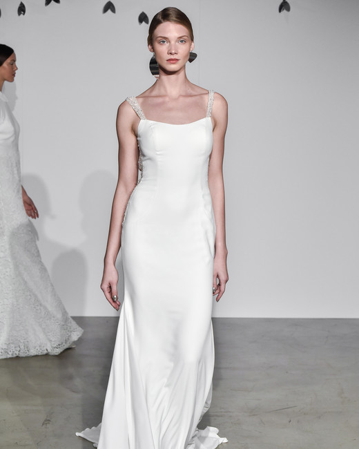 justin alexander fall 2018 glitter spaghetti strap wedding dress