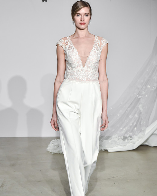 justin alexander fall 2018 lace pantsuit wedding dress