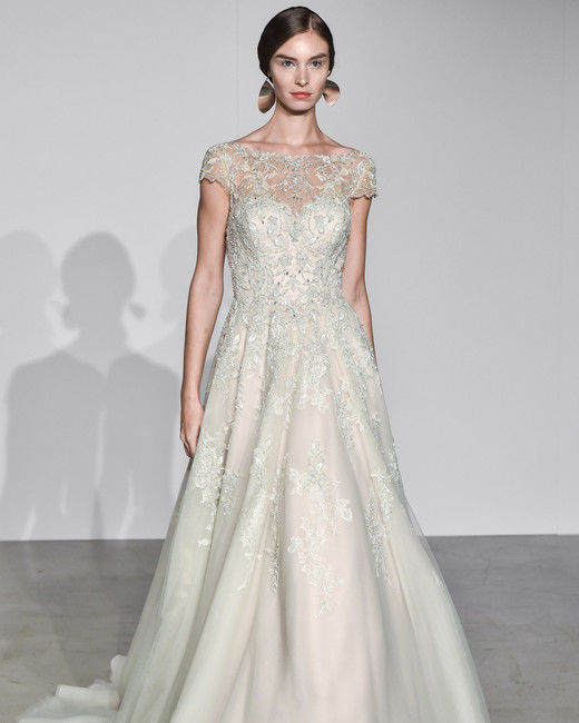 justin alexander fall 2018 boat neck lace overlay wedding dress
