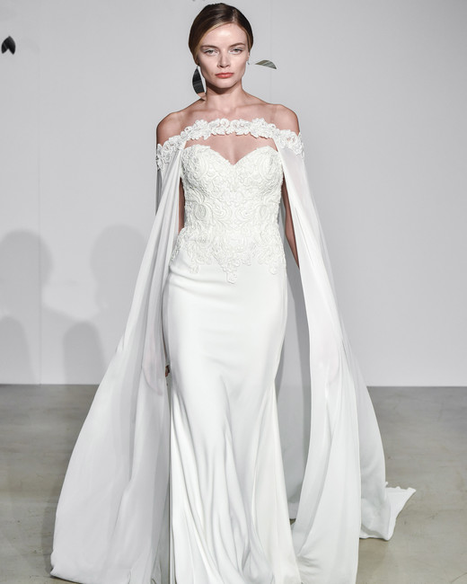 justin alexander fall 2018 sweetheart cape wedding dress