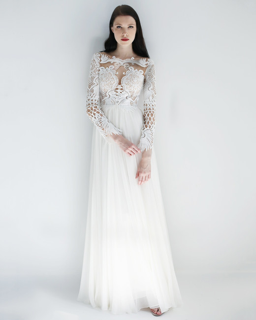 long sleeve sheath leanne marshall wedding dress spring2018