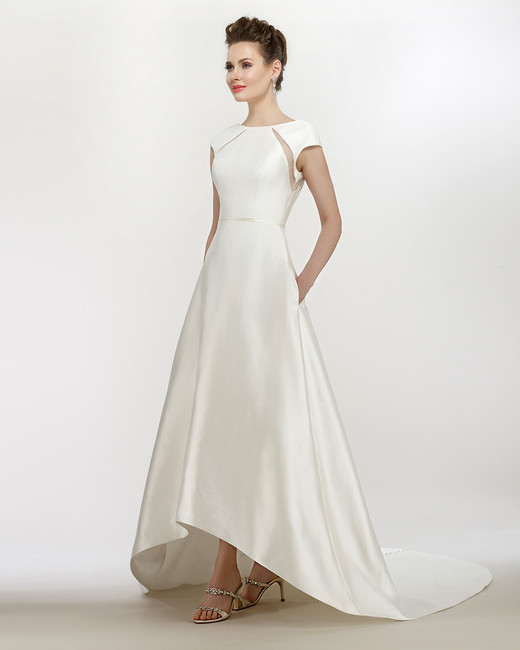 steven birnbaum wedding dress spring 2018 cap sleeves hi low