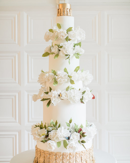 seven tiers, realistic sugar flowers wedding cake