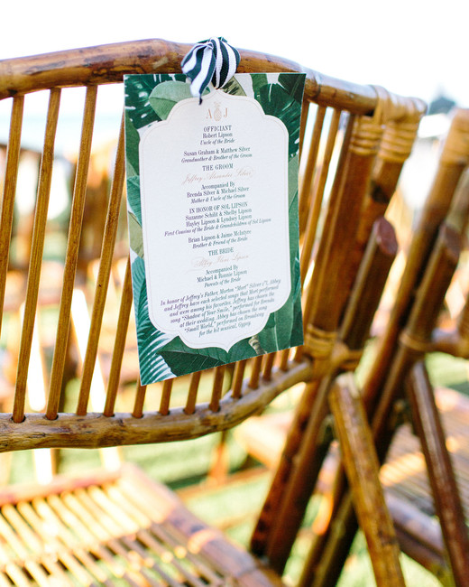abbey jeffrey wedding programs tied to chairs