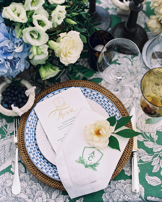 charles andrew wedding blue green place setting