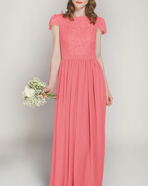 cap sleeve coral lace and chiffon floor length dress