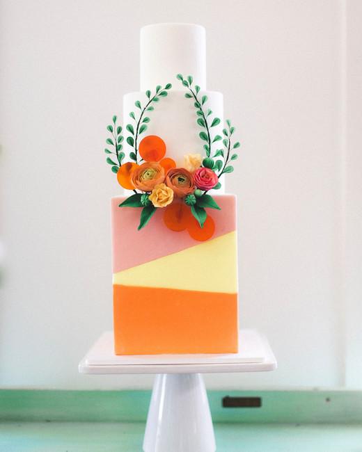 cubed wedding colorful cake