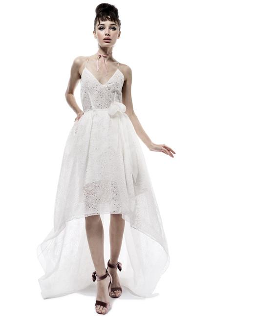 elizabeth fillmore wedding dress fall 2018 high low hem spaghetti strap eyelet