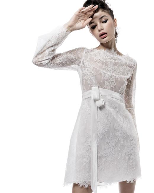 elizabeth fillmore wedding dress fall 2018 long sleeves lace short